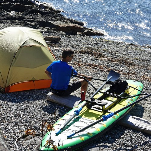 "Camping with Oar Board® SUP Fit On Top Rower, Stand Up Paddle Board, Adventure Row 13'4"" Inflatable SUP, Oar Board, Whitehall Rowing & Sail"